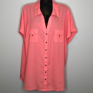 PENNINGTONS coral semi sheer buttoned v-neck top